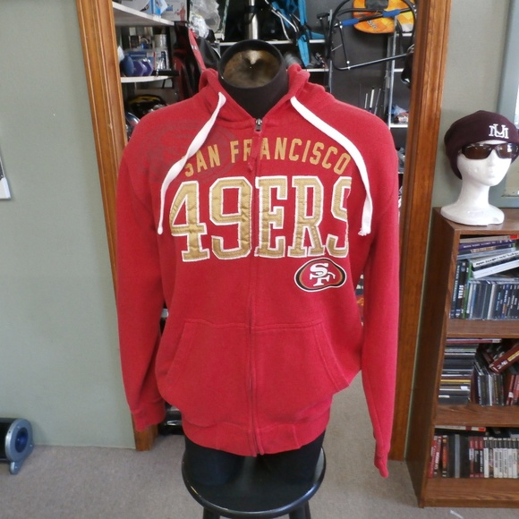 online store c129f a4f02 SF 49ers zip up hoodie red Large #23296